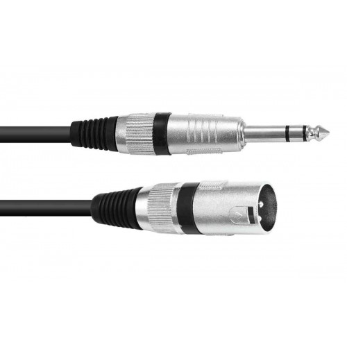 Adaptercable XLR(M)/Jack stereo 5m bk