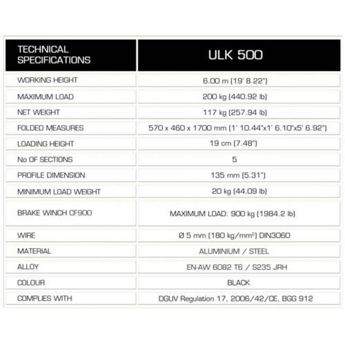 GUIL ULK 500  200kg 6m Front Load Lifting Tower wieża do systemów nagłosnienia Line Array i kratownic